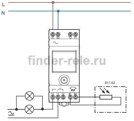 схема подключения фотореле finder 11.91.